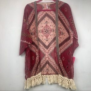 NWT Xhilaration Aztec Boho Tassel Kimono